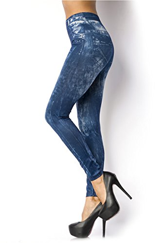 Add Health Leggings Print Jeans-Leggings Steampunk Gothic Leder Latex Lace Spitze Destroy OS (006 Blau)