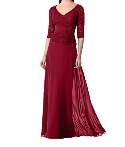 Damen Abendkleider mit Charmant Rock 3 Promkleider Chiffon Ausschnitt Traumhaft Rot Dunkel Festlichkleider Langarm 4 V IU1ZU