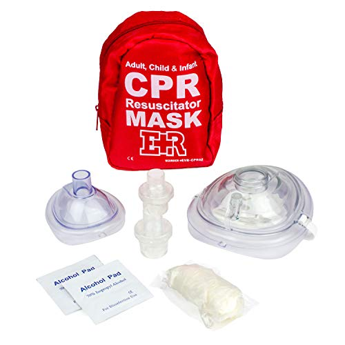 - Ever Ready First Aid Adult and Infant CPR Mask Combo Kit with 2 Valves (with Pair of Nitrile Gloves & 2 Alcohol Prep Pads)