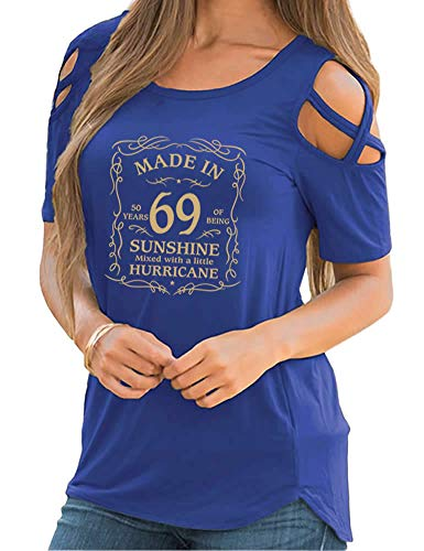 Rfecccy Women's 50th Birthday Gifts-Made in 69 Print Cold Shoulder Short Sleeve T-Shirts Crew Neck Casual Tops Blue