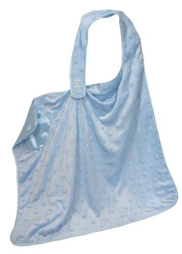 Stephan Baby Satin-Lined Ultra Soft Textured Plush Nursing Cover, Blue Bumpy Stars