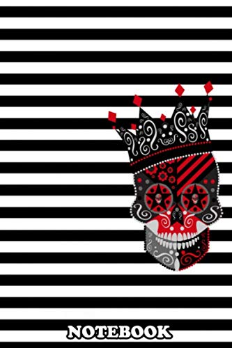 """Notebook: King Skull Icon Abstract With Black And White Back , Journal for Writing, College Ruled Size 6"""" x 9"""", 110 Pages"""