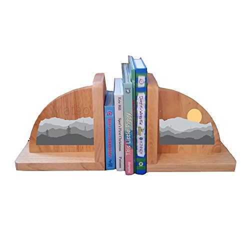 Personalized Mountains Natural Childrens Wooden Bookends by MyBambino