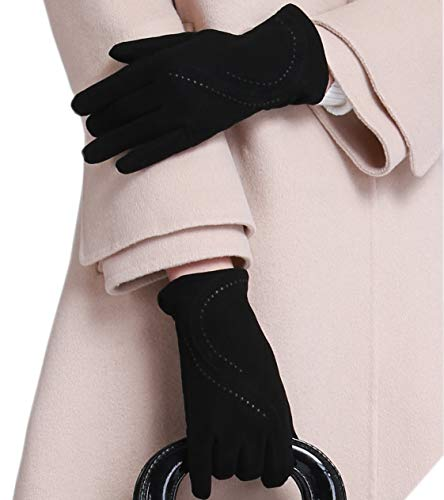 YISEVEN Women's Lambskin Suede Leather Gloves Thin and Long Stylish Water Ripple Design Silky Polyester Lined Hand Warm Heated Lining for Ladies Winter Dress Driving Work Luxury Xmas Gift, Black 8