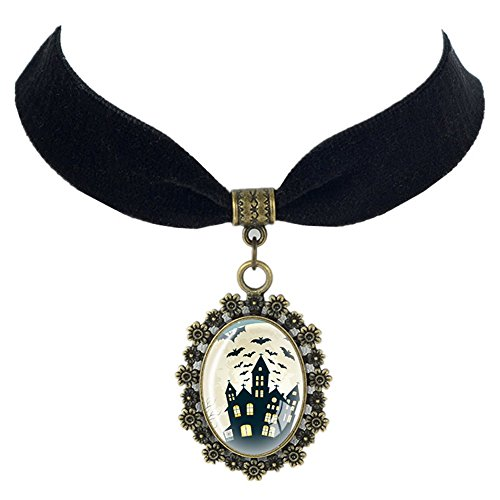 (Paialco Halloween Oval Glass Pendant Black Ribbon Necklace, Haunted)