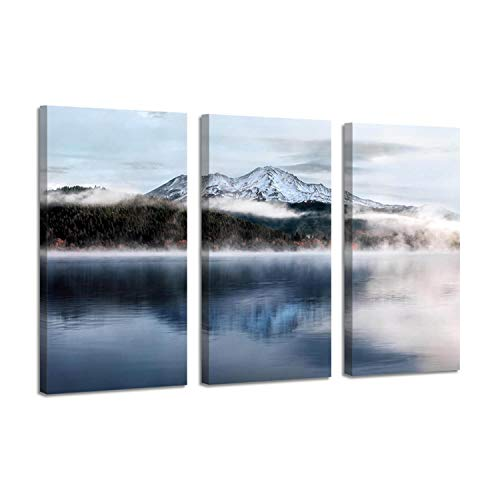 Snow Mountain Picture Landscapes Artwork : Lake Shore Reflection Wall Art Print on Canvas