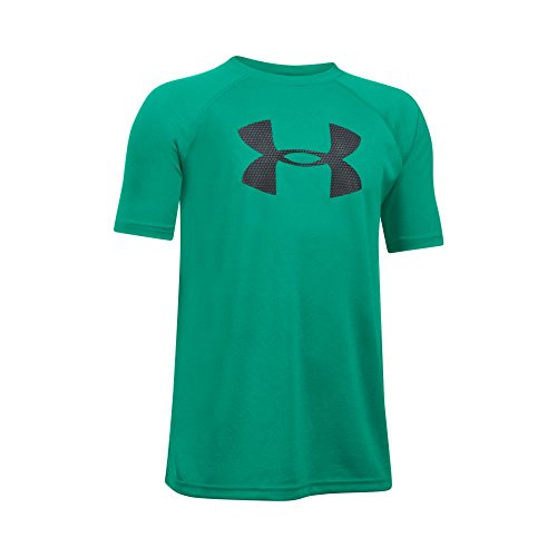 Under Armour Boys' Tech Big Logo Short Sleeve T-Shirt, Geode Green/Black, Youth X-Large