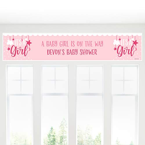 Big Dot of Happiness Personalized It's a Girl - Custom Pink Baby Shower Decorations Party Banner -