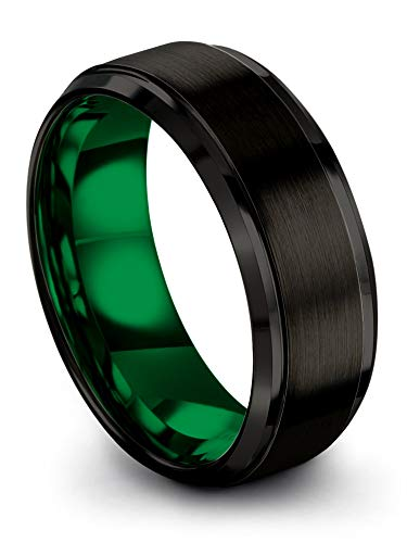Chroma Color Collection Tungsten Carbide Wedding Band Ring 8mm for Men Women Green Interior with Black Exterior Step Bevel Edge Brushed Polished Comfort Fit Anniversary Size 9.5
