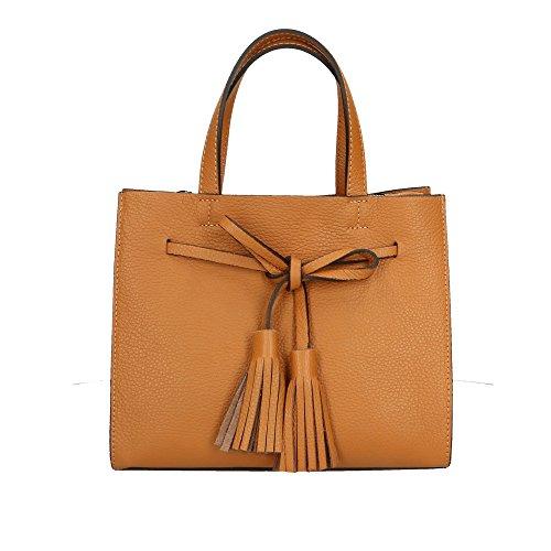 Borsa Pelle Donna In Handbag Cuoio Aren Da Italy Made Vera A Cm Mano 26x21x15 8S5x5aq6w