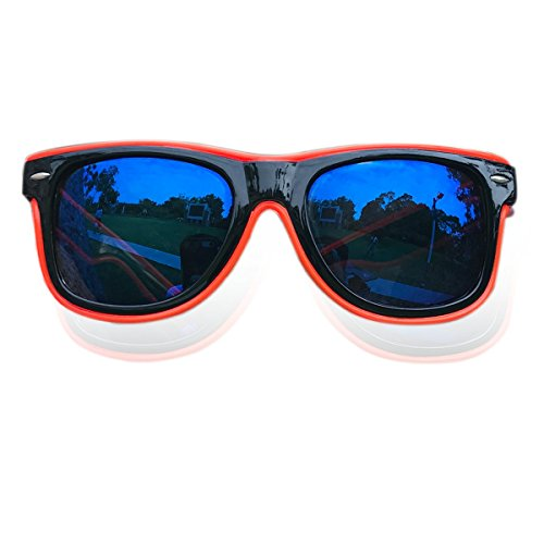 Light Up Sunglasses Multicolor Lens El Wire Wayfarer Glasses Sound Activated Led Flashing Glasses (Red, - Wire Sunglasses El