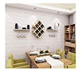 ACZZ Wall-Mounted Metal Wine Rack, Wine Bottle Rack, Wine Glass Locker 2 Floating Shelf Accessories, Home 3 Colors,D,Wine Rack