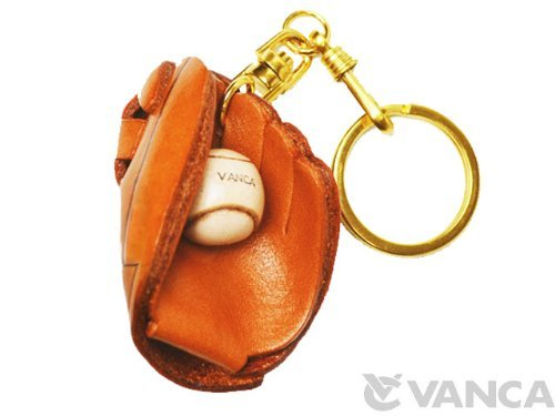 Genuine 3D Leather Baseball Glove Leather Keychain(L). Made by skillful craftsmen of VANCA CRAFT in Japan.
