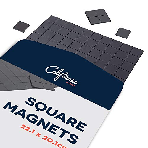 Adhesive Magnet Squares, Stick On Magnets, Magnetic Squares with Adhesive Backing, Adhesive Magnets for Crafts, Square Magnet Strips for Whiteboard, 110pcs Sticker Magnets, 22x20cm Square Magnet Tape
