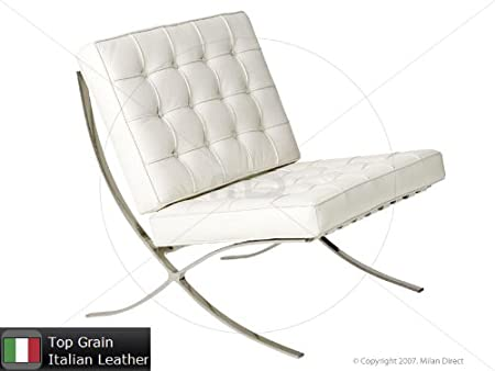 White Leather Barcelona Chair Replica Amazoncouk Kitchen Home