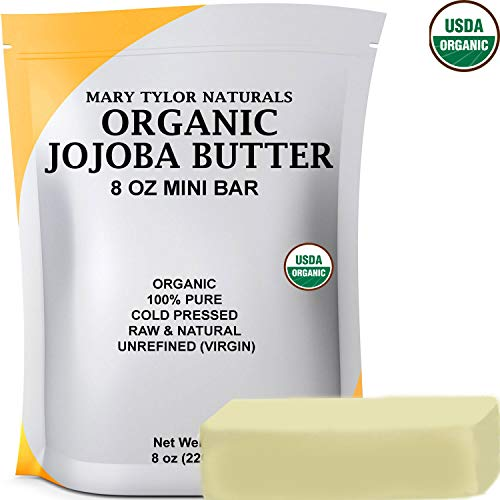Organic Jojoba Butter 8 oz USDA Certified Organic, Unrefined by Mary Tylor Naturals, Premium Grade Raw Pure Jojoba Butter, Amazing Skin Nourishment Great Moisturizer