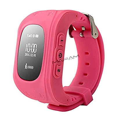 GPS Tracker Watch Pater Joy Children SOS Smart Watch ,Support Micro SIM and Voice Chatting ,Remote monitoring?Call Location Device Tracker for Kid Safe Anti-Lost Monitor(Pink).
