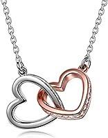 Kami Idea Halskette Damen - Mein Schicksal - Herz zu Herz Anhänger, Kristalle von Swarovski, Rosegold Damen Modeschmuck,...