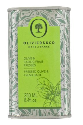 Oliviers & Co Italian Basil Olive Oil, 8.4 fl. oz, Flavored Extra Virgin Olive Oil, First Cold Pressed with Fresh Basil, Great for Salads, Fruit, Fish or Vegetables