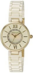 Anne Klein Women's AK/2178IVIV Swarovski Crystal Accented Gold-Tone and Ivory Ceramic Bracelet Watch