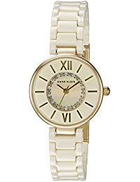 Women's AK/2178IVIV Swarovski Crystal Accented Gold-Tone and Ivory Ceramic Bracelet Watch