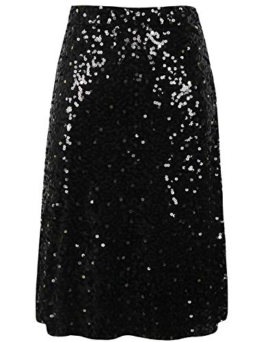 PrettyGuide Women's Prom Skirt High Waist Sequined Cocktail Midi Party Skirt Casual Dress L ()