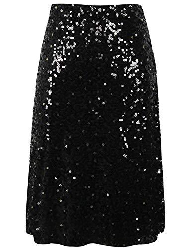 PrettyGuide Women's Sequin Skirt High Waist A-Line Midi Evening Skirt Clubwear XL Black]()