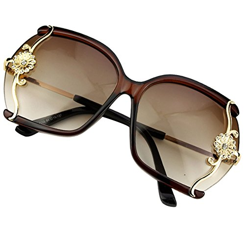 Sumery Lady Semi-Rimless Frame Sunglasses Flowers Decoration Metal Frame 4PCS (Brown, - Mykita Glasses Sale