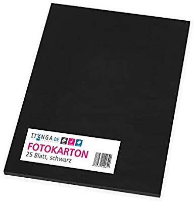 itenga fotográfico cartón negro 25 hojas A4, 300 g/m² grueso ...