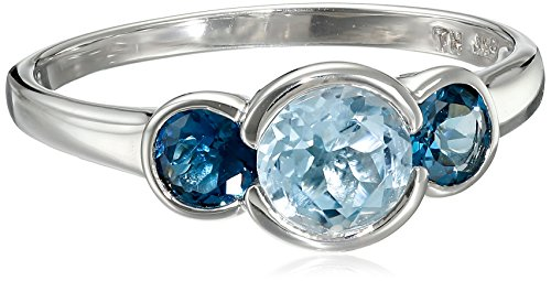 Sterling Silver London Topaz Three Stone