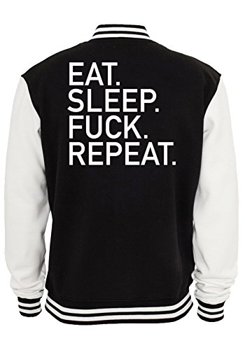 Eat Sleep Fuck Repeat College Vest Black