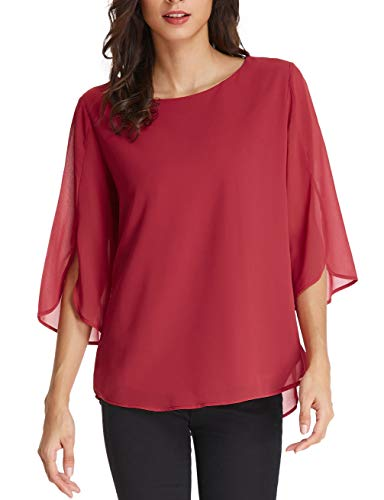 GRACE KARIN Casual Half Ruffle Sleeve Chiffon Blouse for Women Size M Wine Red