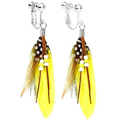 Handmade Bohemian Women Yellow Feather Long Tassel Dangle Clip-on Earrings Screw Back for Kids ()