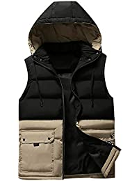 Ballad Men's Vest Quilted Vest Transitional Jacket Autumn Winter Casual Pocket Pure Color Vest Jacket Top Coat