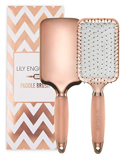 Lily England Paddle Brush for Detangling, Straightening Hair and Blowdrying, Rose Gold Hairbrush
