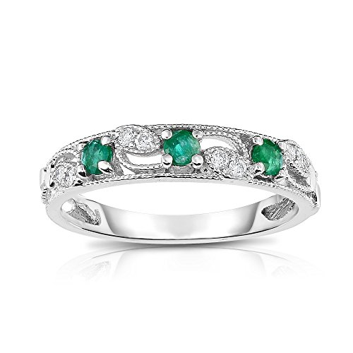 Noray Designs 14K White Gold Emerald & Diamond (0.06 Ct, G-H, SI2-I1 Clarity) Stackable (0.06 Ct White Diamond)