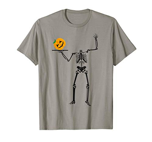 (Pumpkin Head Skeleton Funny Halloween Chef T shirt)