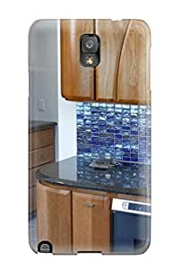 Awesome Case Cover/galaxy Note 3 Defender Case Cover(contemporary Kitchen With Blue Glass Tile Backsplash)