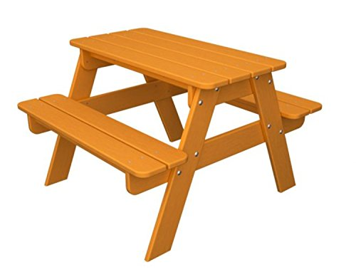 Recycled Earth-Friendly Outdoor Patio Kid's Picnic Table - Orange Tangerine