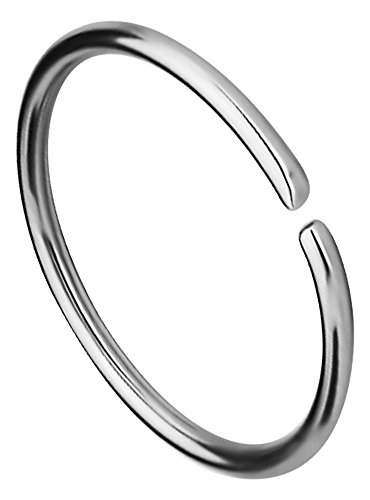 20g 10mm (3/8 Inch) Surgical Steel Seamless Nose Ring & Cartilage Hoop with Comfort Round Ends (20gauge Nose Rings)