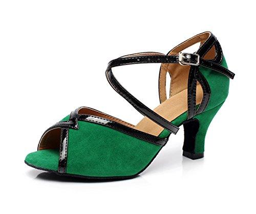 Salsa Cruzado Latina En De heeled6cm Salón Our41 Baile De Cuero EU40 Green Mujeres 5 JSHOE UK6 Para BqgI8w