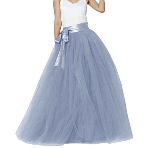 Lisong Women Floor Length Bowknot Tulle Party Evening Skirt 2 US Dusty Blue