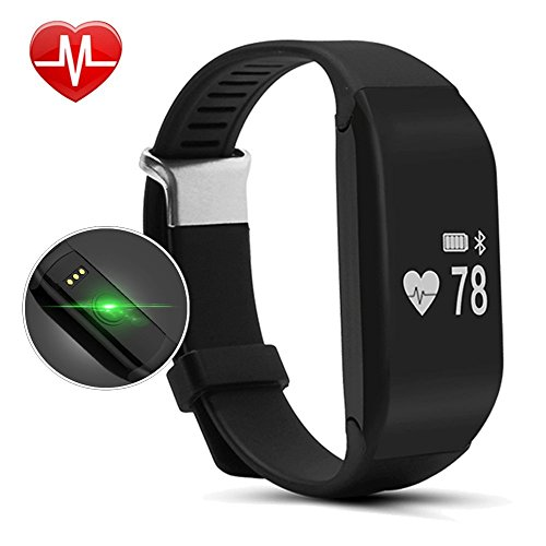 H3 Fitness Tracker with Heart Rate Monitor Waterproof Pedometer Watch Bluetooth Smart Bracelet,Sleep Monitor,Heartbeat Tracker,Vibrating Alarm for iPhone Samsung & Android Phones