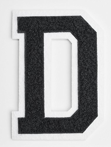 Varsity Letter Patches - Black Embroidered Chenille Letterman Patch - 4 1/2 inch Iron-On Letter Initials (Black, Letter D Patch) - Patches Varsity Jacket
