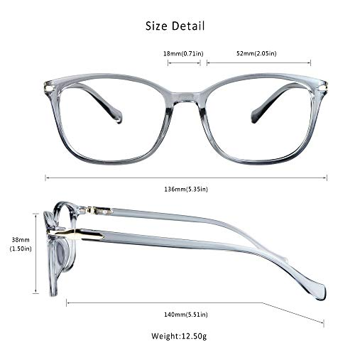 LifeArt Blue Light Blocking Glasses, Anti Eyestrain, Computer Reading Glasses, Gaming Glasses, TV Glasses for Women Men, Anti Glare (Clear Grey, 1.75 Magnification)