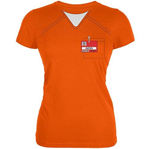 [Caitlyn Jenner Prisoner Uniform Costume Orange Juniors Soft T-Shirt - X-Large] (Caitlyn Jenner Costume)