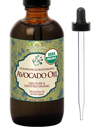 US Organic Avocado Oil Unrefined Virgin, USDA Certified Organic, 100% Pure & Natural, Cold Pressed, in Amber Glass Bottle w/Glass Eye dropper for Easy Application (4 oz (Large))