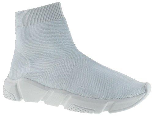 Sock 12 Womens Elastic Fabric Knit Hightop Sneaker White 6.5 ()