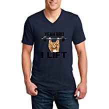 Xekia Yeah Bro I Lift Gym Cat Kitty Works Out Men V-Neck T-Shirt