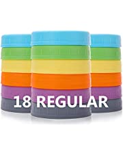Aozita [18 Pack] Plastic REGULAR Mouth Mason Jar Lids for Ball, Kerr and More with Silicone Rings - Food Grade Colored Plastic Storage Caps for Mason/Canning Jars - Anti-Scratch Resistant Surface